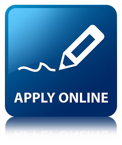 Apply online (edit pen icon) blue square button vector art illustration