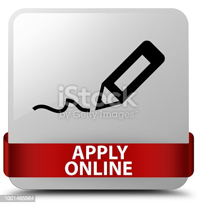 Apply online (edit pen icon) isolated on white square button with red ribbon in middle abstract illustration