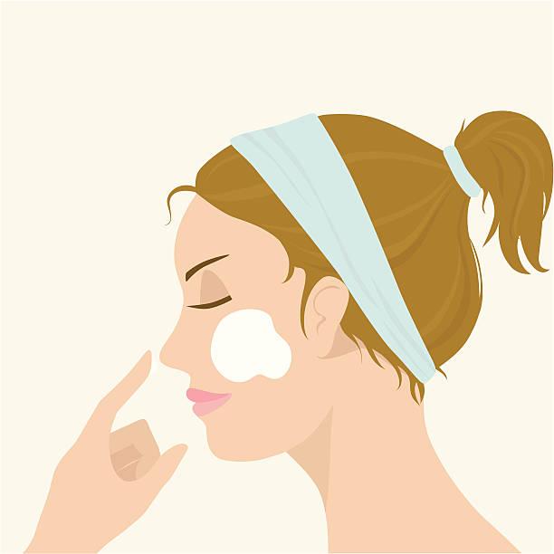 ilustrações, clipart, desenhos animados e ícones de aplicação de máscara facial - limpando rosto