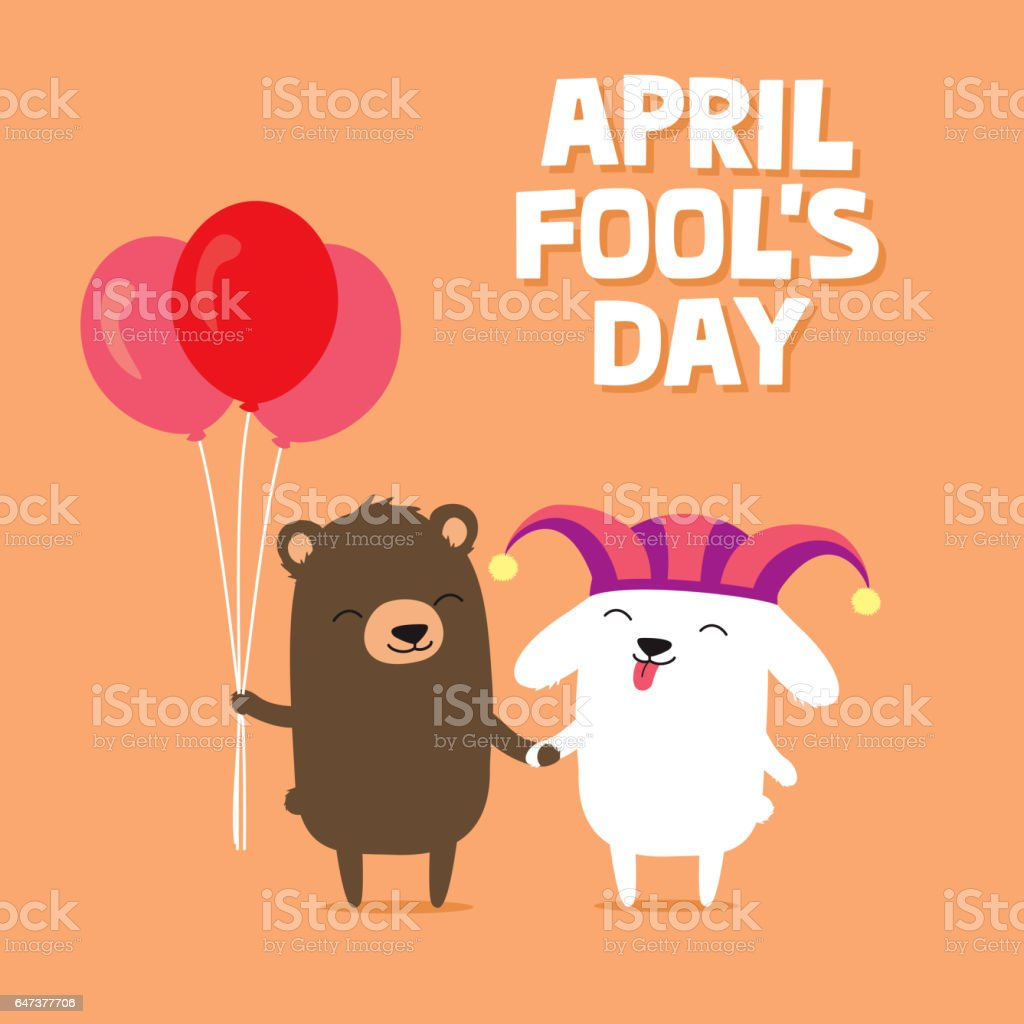 April Fools Day Greeting Card With Cute Bunny Rabbit Wearing Joker