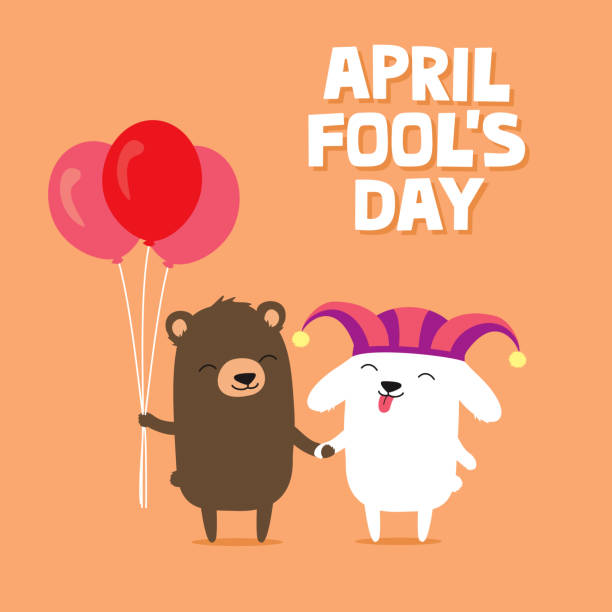 April Fool's Day greeting card with cute bunny rabbit wearing joker hat and bear holding balloons vector art illustration