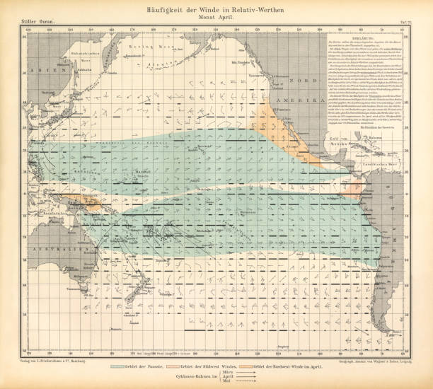 April Frequency of Winds in Relative Values Chart, Pacific Ocean, German Antique Victorian Engraving, 1896 Very Rare, Beautifully Illustrated Antique Engraving of April Frequency of Winds in Relative Values Chart, Pacific Ocean, German Antique Victorian Engraving, 1896. Source: Original edition from my own archives. Copyright has expired on this artwork. Digitally restored. tide stock illustrations