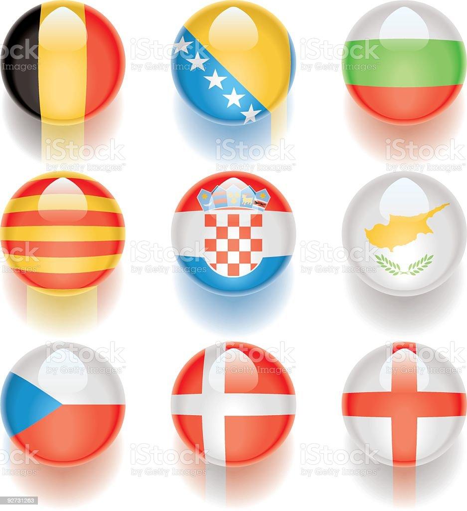 Aqua Flags – Europe 02 royalty-free stock vector art