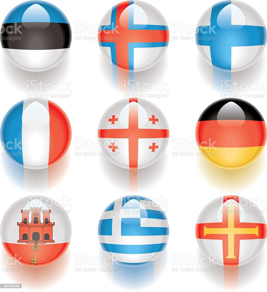 Aqua Flags – Europe 03 royalty-free stock vector art