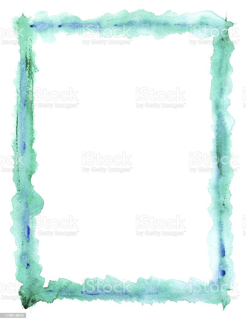 Aqua Watercolour Frame vector art illustration