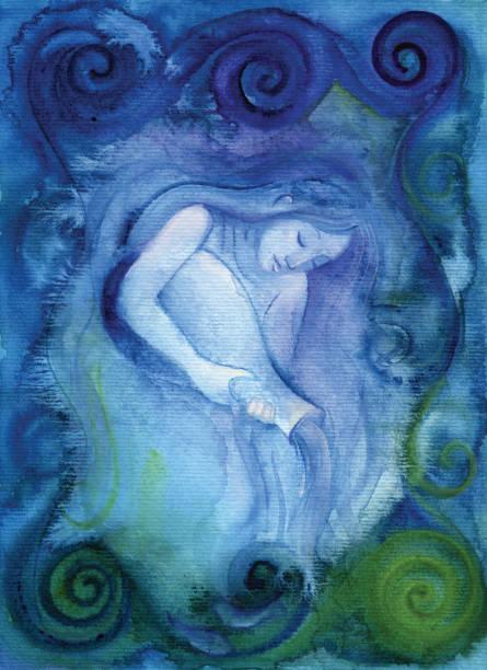 Aquarius (zodiac air sign) vector art illustration