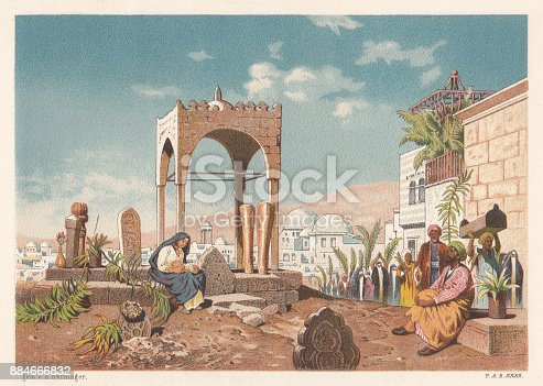 Arab cemetery in Alexandria, Egypt. Lithograph after a drawing by Edmund Berninger (German painter, 1843 - 1909) from the book
