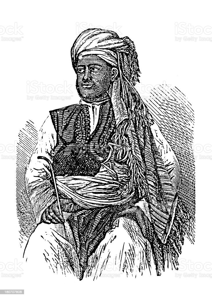 Arab from Zanzibar, South Africa (antique wood engraving) royalty-free stock vector art