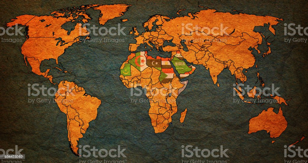 Arab league member countries flags on world map stock vector art arab league member countries flags on world map royalty free arab league member countries flags gumiabroncs Choice Image
