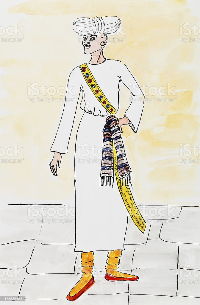 arab man in traditional dress vector art illustration