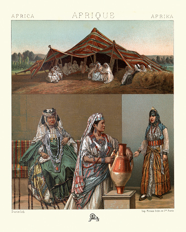 Arab nomad tent, Kabyle women in traditional dress, North Africa