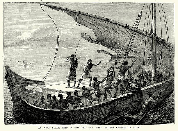 Arab slave-ship in the Red Sea fleeing from Royal Navy vector art illustration