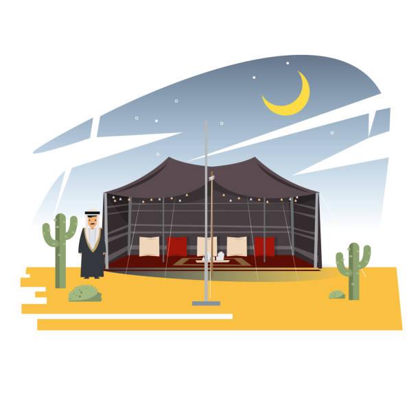 arab tent - vector illustration - bedouin tent stock illustrations, clip art, cartoons, & icons