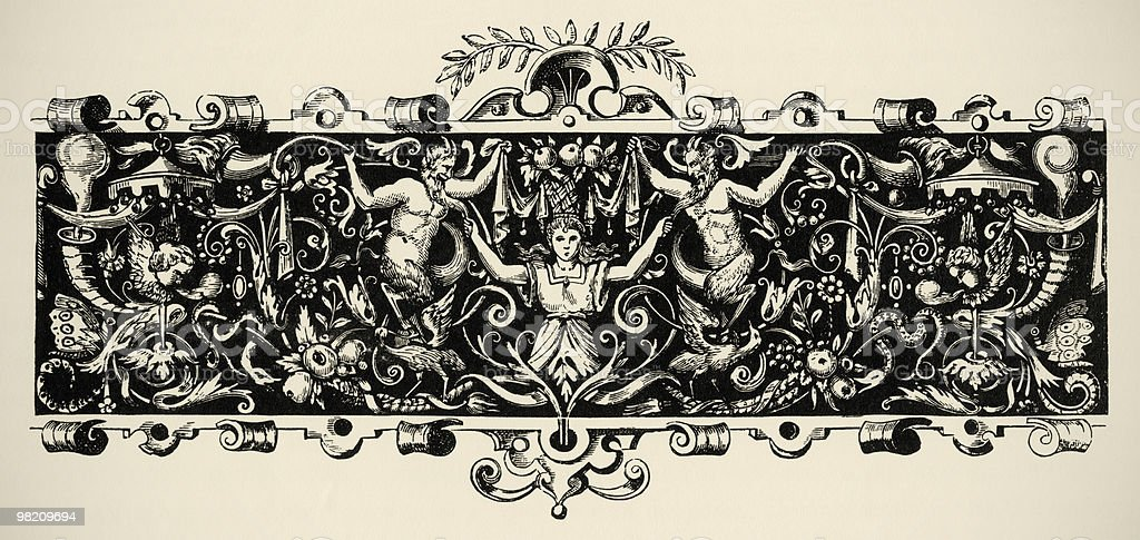 Arabesque, renaissance . Engraving of 16 century. Copyright expired. royalty-free arabesque renaissance engraving of 16 century copyright expired stock vector art & more images of cartouche