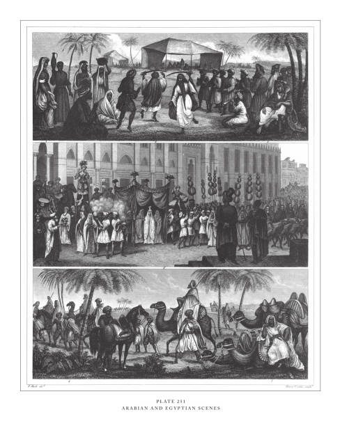arabian and egyptian scenes engraving antique illustration, published 1851 - bedouin tent stock illustrations, clip art, cartoons, & icons