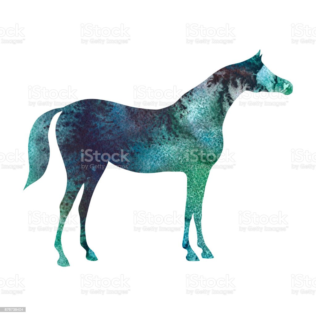 Arabian Horse Silhouette With Watercolor Green Malachite Emerald Color Texture On White Stock Illustration Download Image Now Istock