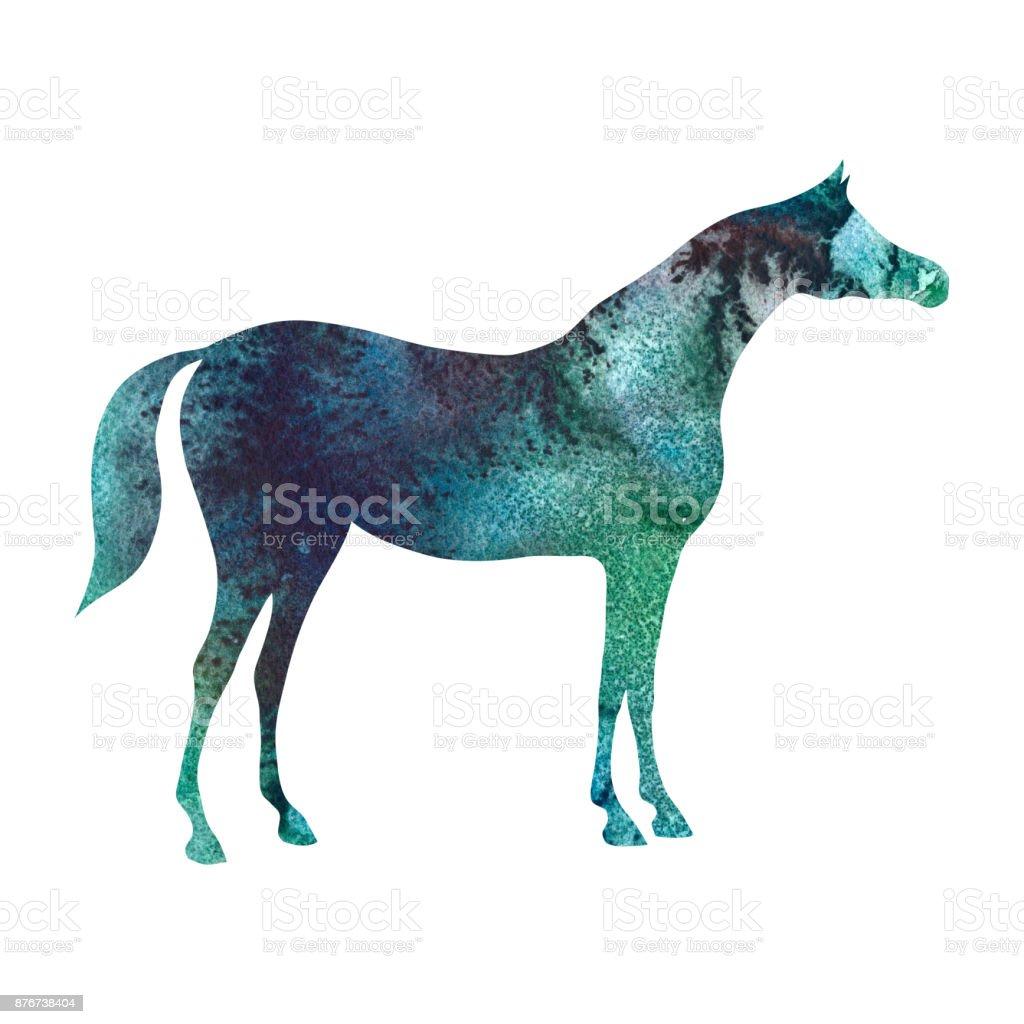 Arabian horse silhouette with watercolor green malachite emerald color texture on white. vector art illustration