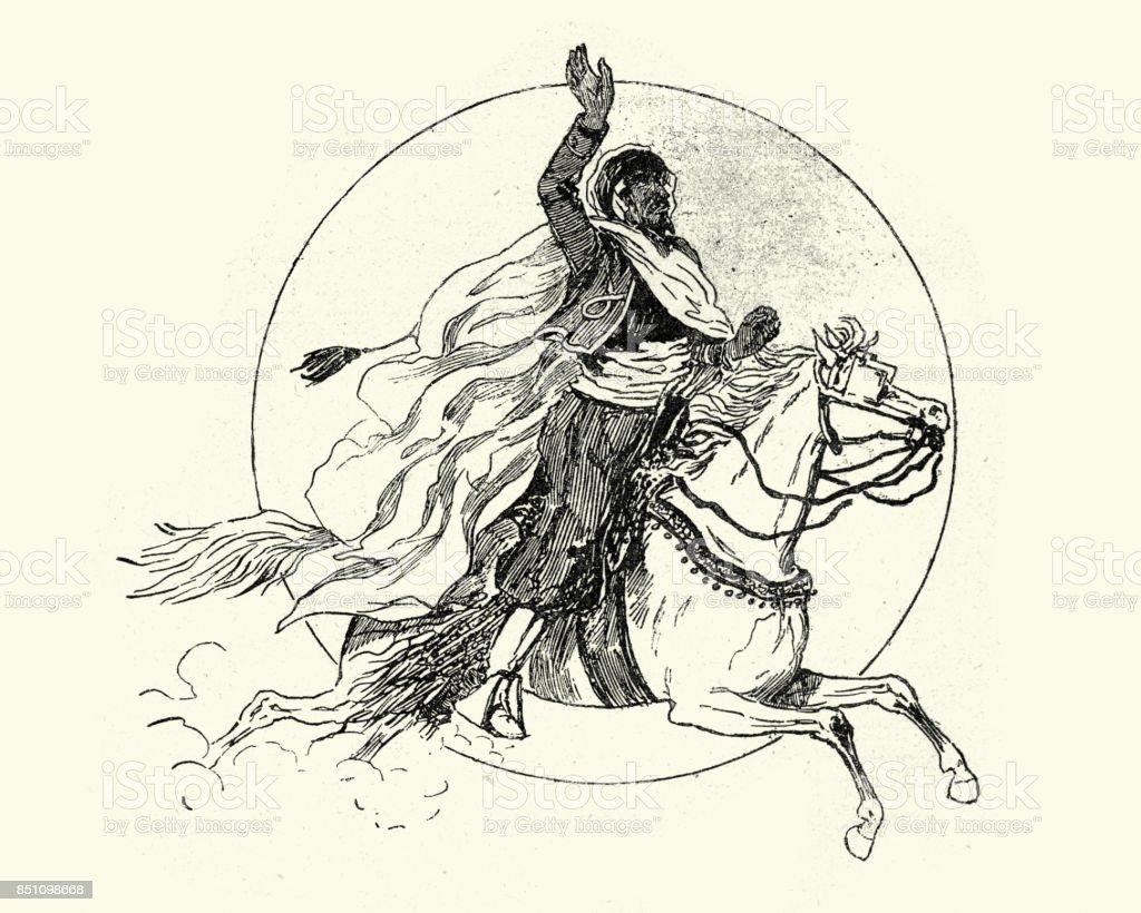 Arabian horseman, 19th Century vector art illustration