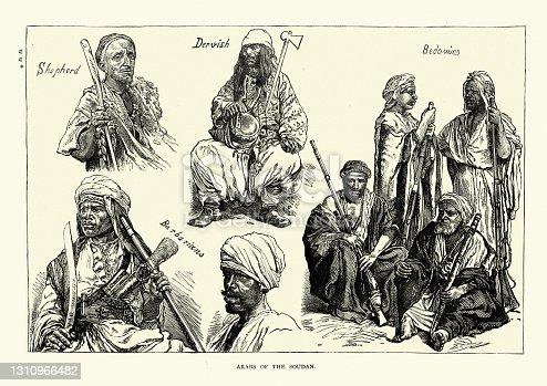 Vintage illustration of Arabs of the Sudan, 19th Century