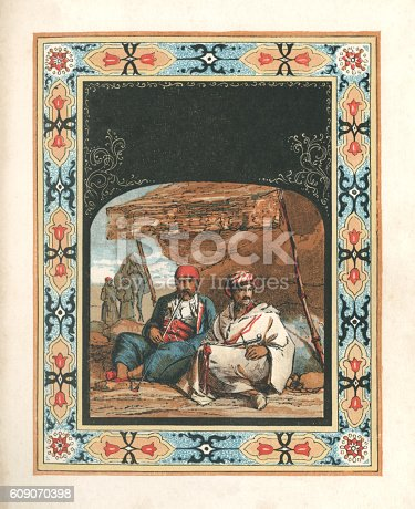 istock Arabs outside a tent (with Arabic style border) 609070398