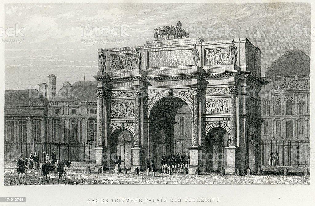 Antique engraving Arc de Triomphe PARIS
