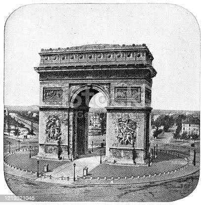 Arc de Triomphe de l'Étoile in Paris, France. Vintage etching circa mid 19th century.