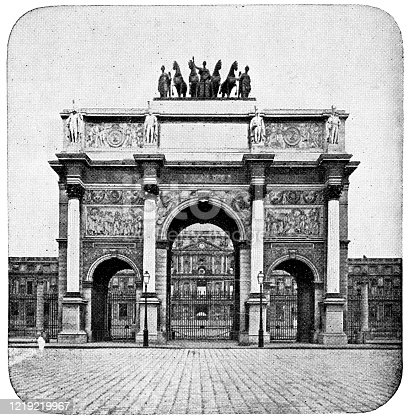 Arc de Triomphe du Carrousel In front of Tuileries Palace in Paris, France. Vintage etching circa mid 19th century. The palace was burned down in 1871 by the Paris Commune.