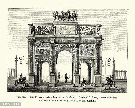 Vintage engraving of Vue de l'arc de triomphe eleve sur la place du Carrousel de Paris (View of the triumphal arch high on the Place du Carrousel de Paris), France 18th Century.
