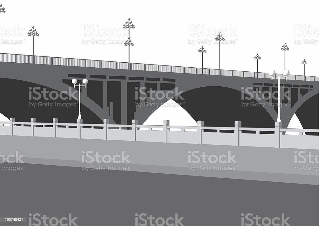 arch bridge and street royalty-free stock vector art