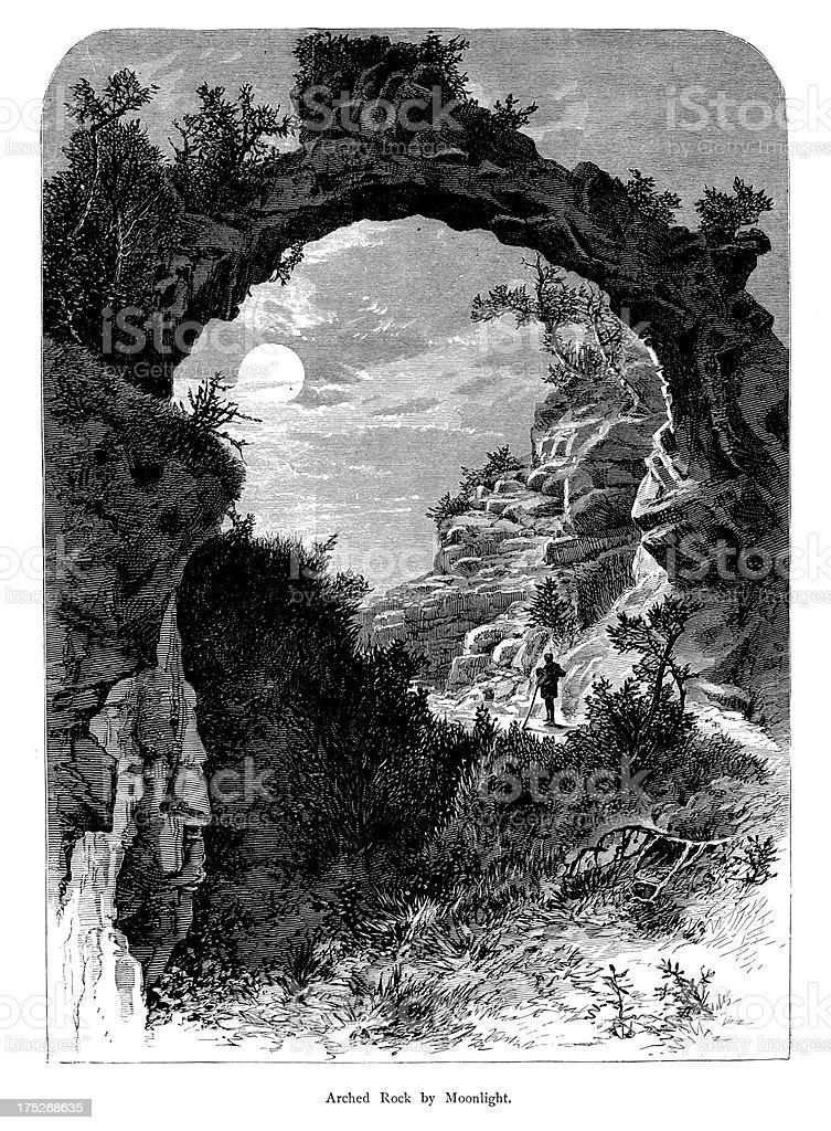 Arch Rock by moonlight, Michigan, wood engraving vector art illustration