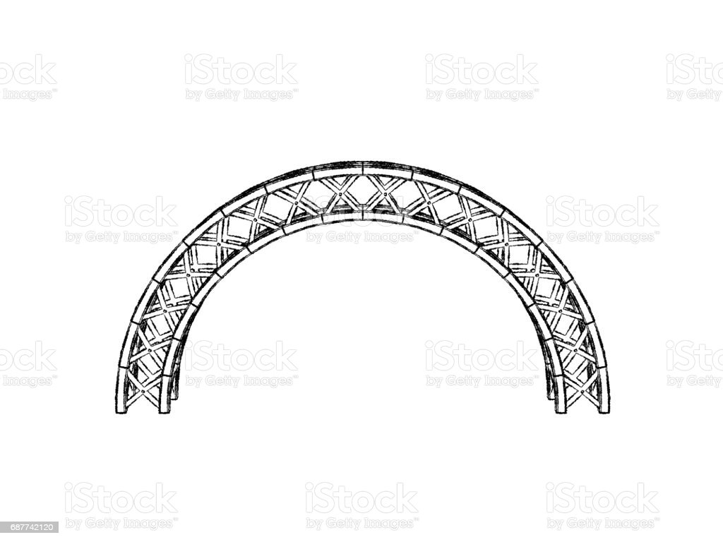 Arch Truss Isolated On White Backgroundsketch Illustration Stock Cantilever Bridge Diagram Related Keywords Royalty Free