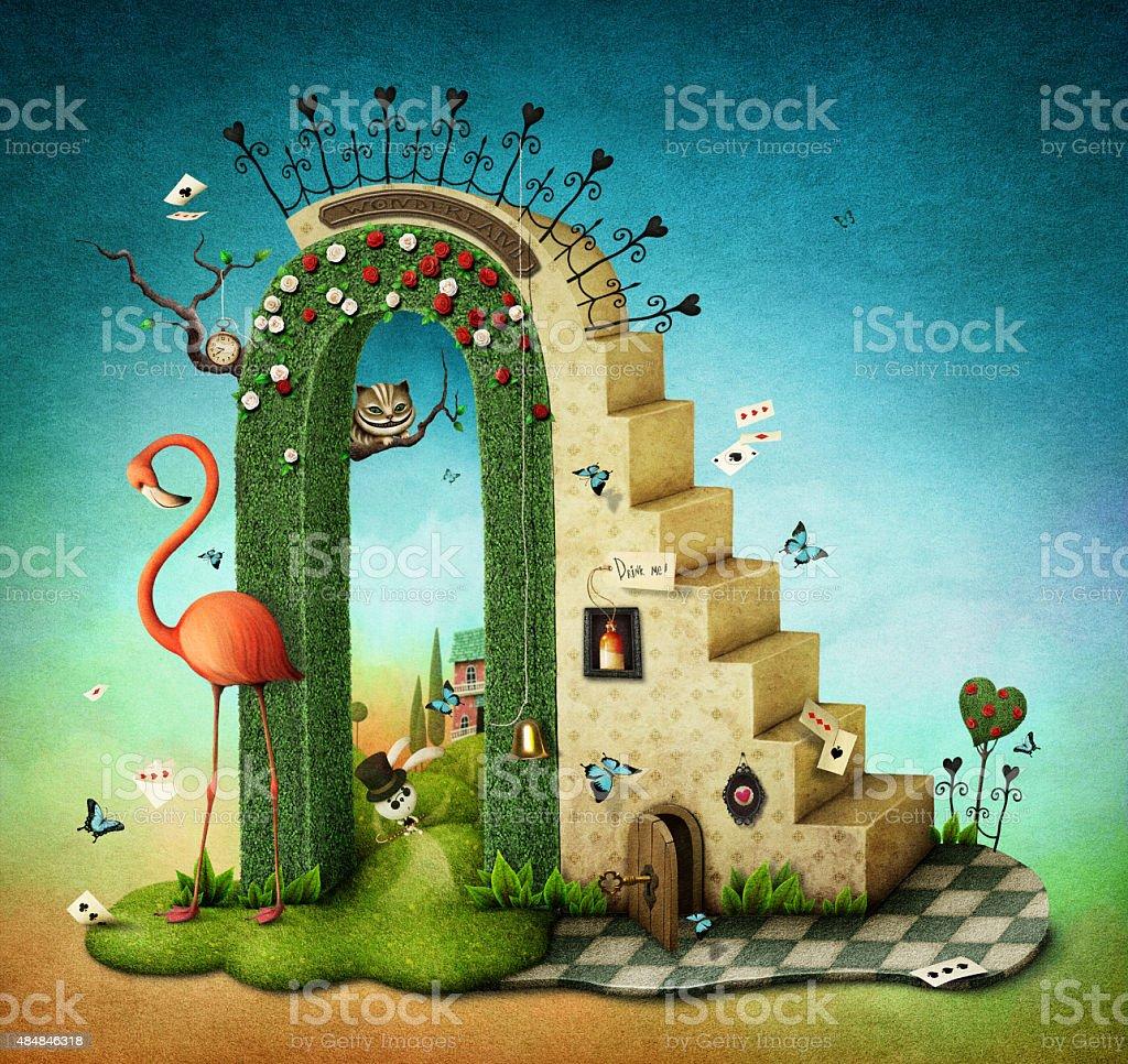 Arco con scale - illustrazione arte vettoriale