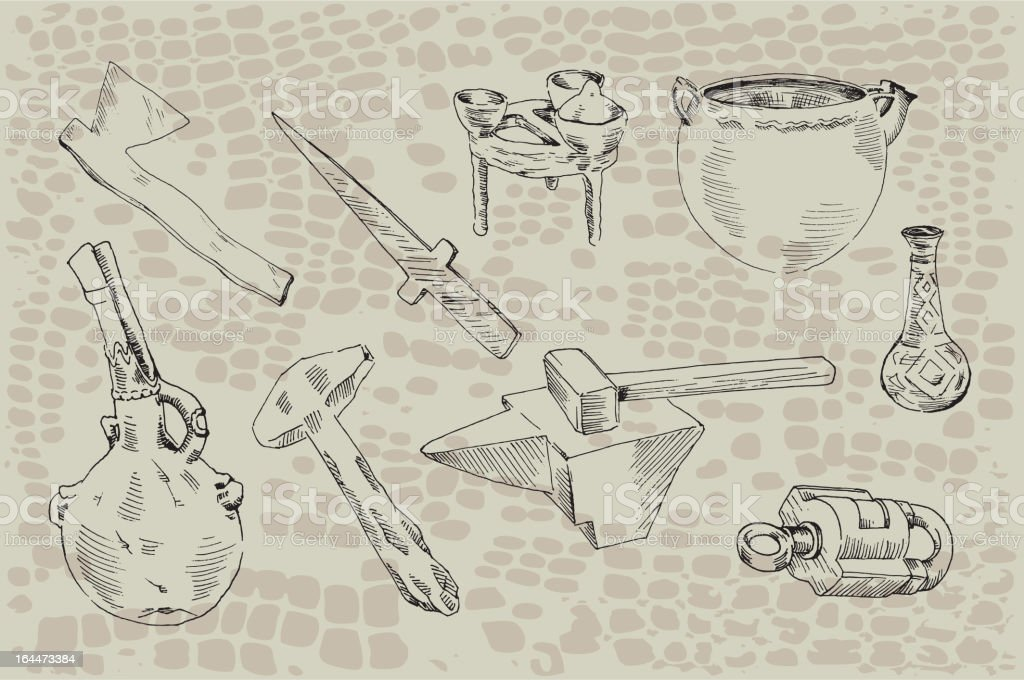 archaeological finds vector art illustration