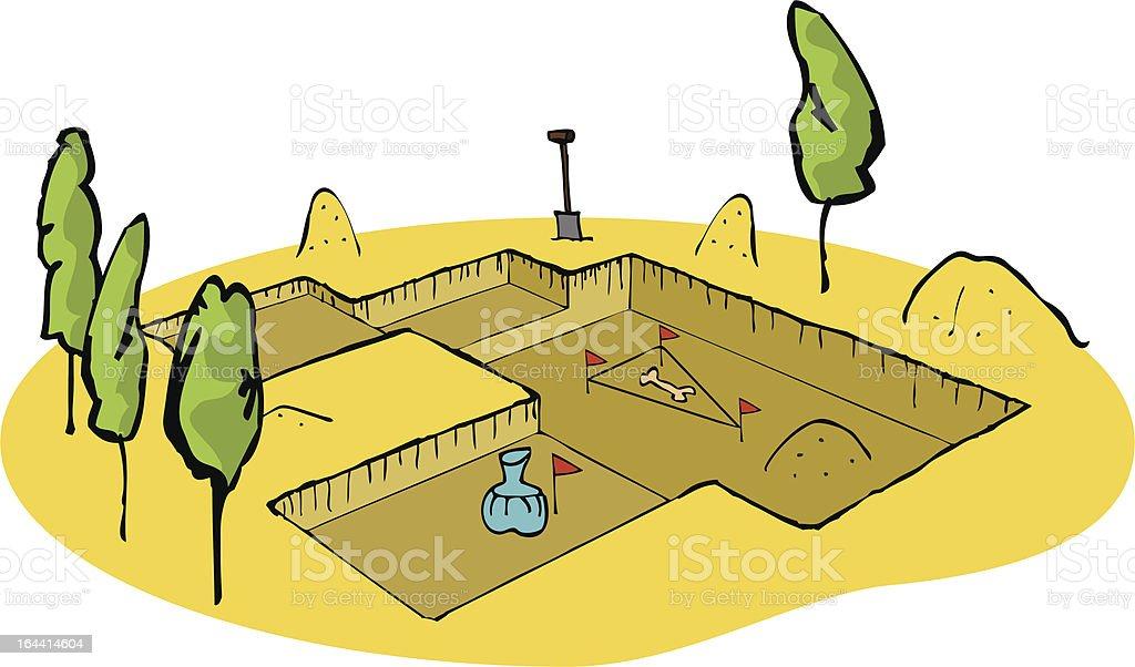 Archaeologist excavation site vector art illustration