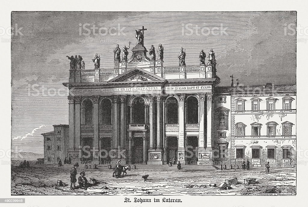 Archbasilica of St. John Lateran, Rome, published in 1878 vector art illustration