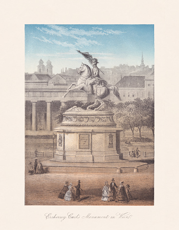 Historical view of the Equestrian statue of Archduke Charles on the Heldenplatz in Vienna, Austria. Created (1853/59) by Anton Dominik von Fernkorn (German-Austrian sculptor, 1813 - 1878). Chromolithograph, published in 1868.