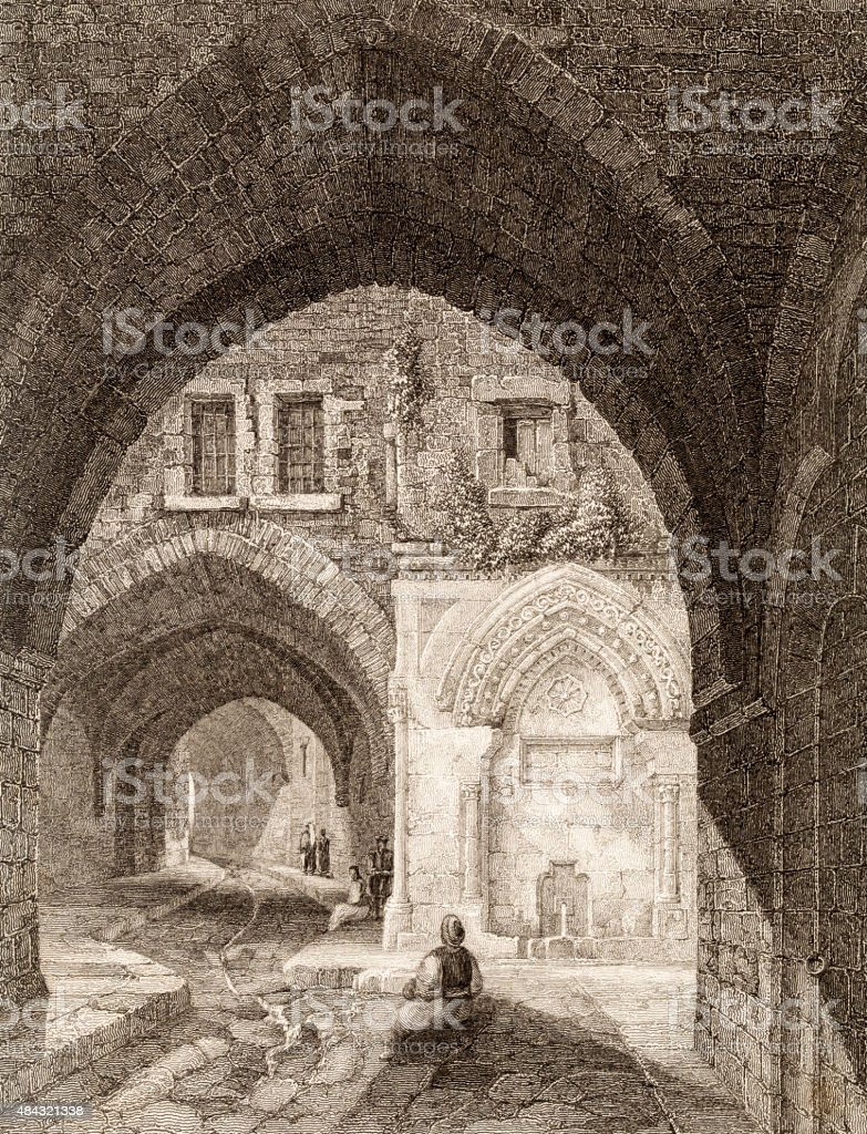 Arched streets in the city of Jerusalem, 19 century illustration vector art illustration