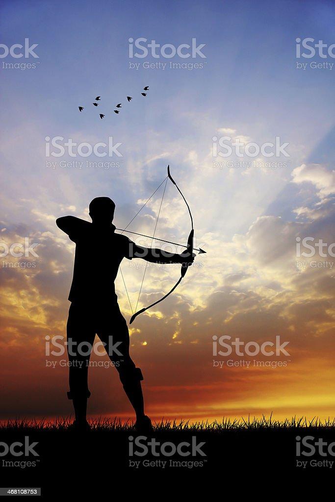archery at sunset vector art illustration