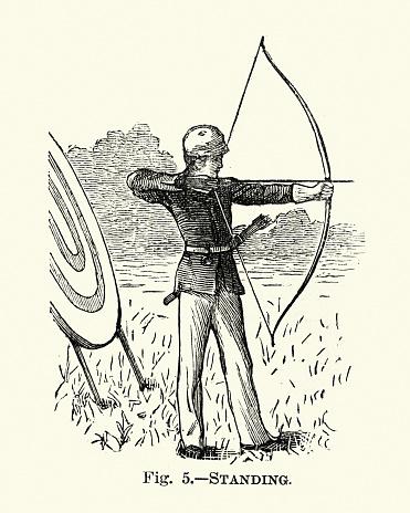 Archery, Boy firing the bow, Victorian sports, 19th Century
