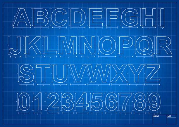 Architect blueprint alphabet letters vector art illustration
