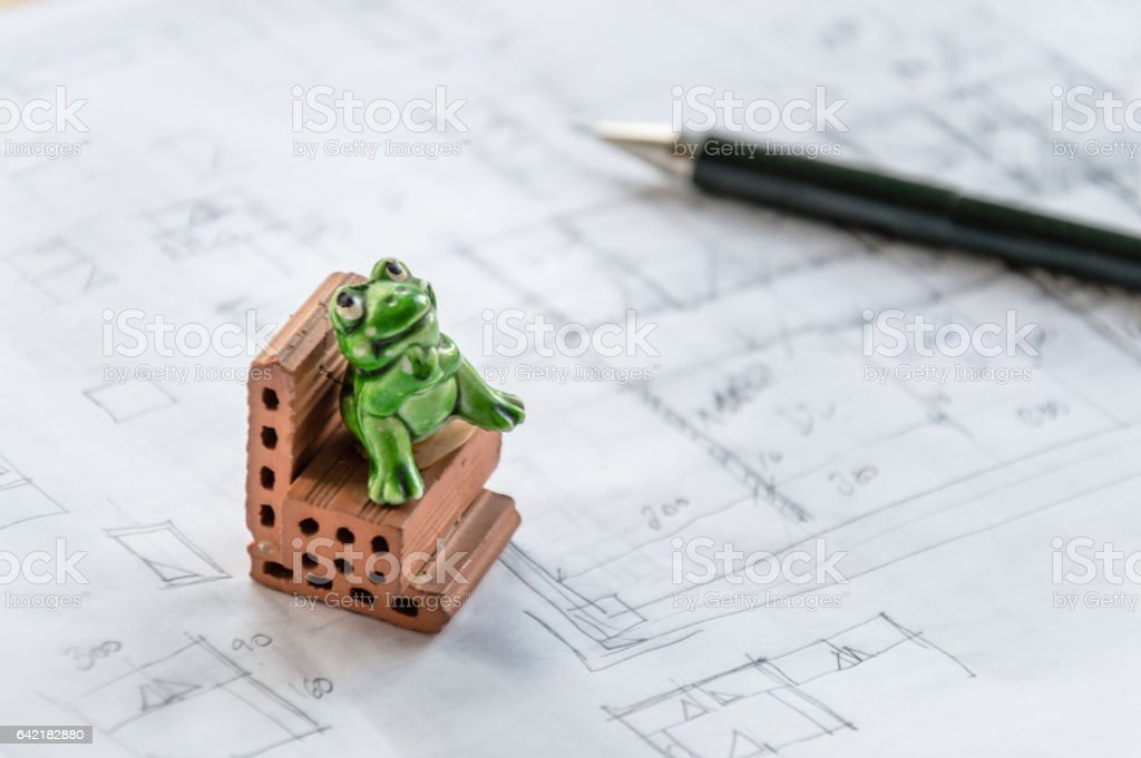 Architect desk vector art illustration