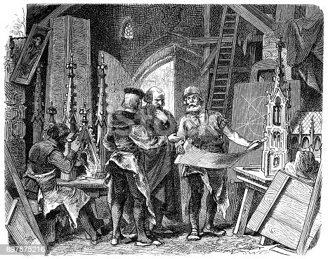 Illustration of a Architects and Craftsmen Designing a New Cathedral, 12th Century Europe