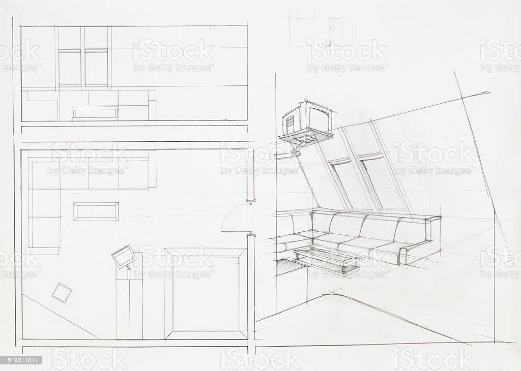 Architectural blueprint of sala de estar arte vectorial de stock y architectural blueprint of sala de estar architectural blueprint of sala de estar arte vectorial de malvernweather Image collections