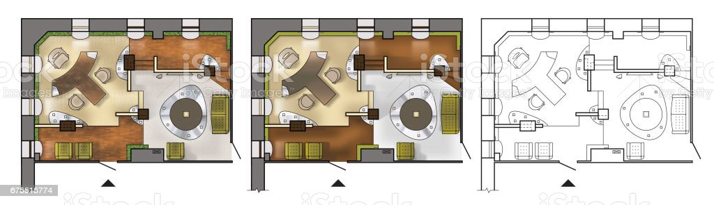 modern office floor plans. Architectural Colorful Floor Plan Of Interior Working Cabinet, Modern Office, In Top View, Office Plans