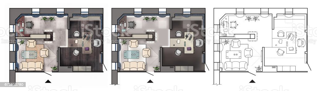 Modern Office Floor Plans | Architectural Colorful Floor Plan Of Interior Working Cabinet Modern