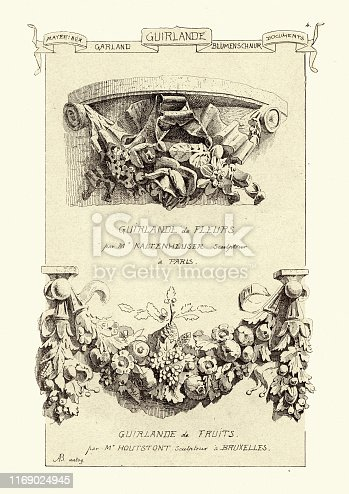 Vintage engraving of A festoon,  a wreath or garland hanging from two points, and in architecture typically a carved ornament depicting conventional arrangement of flowers, foliage or fruit bound together and suspended by ribbons. 19th Century. Materiaux et Documents D'Architecture et de Sculpture, by Raguenet