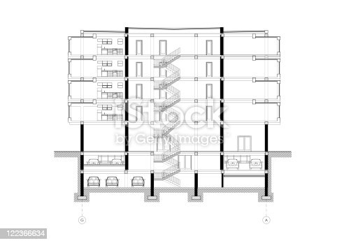 Cad Architectural Five Story Building Section Drawing