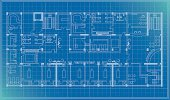 architectural plan blueprint vector of a health center with treatment units, spa,sauna,cafe, pdf,png,ai8 incl.