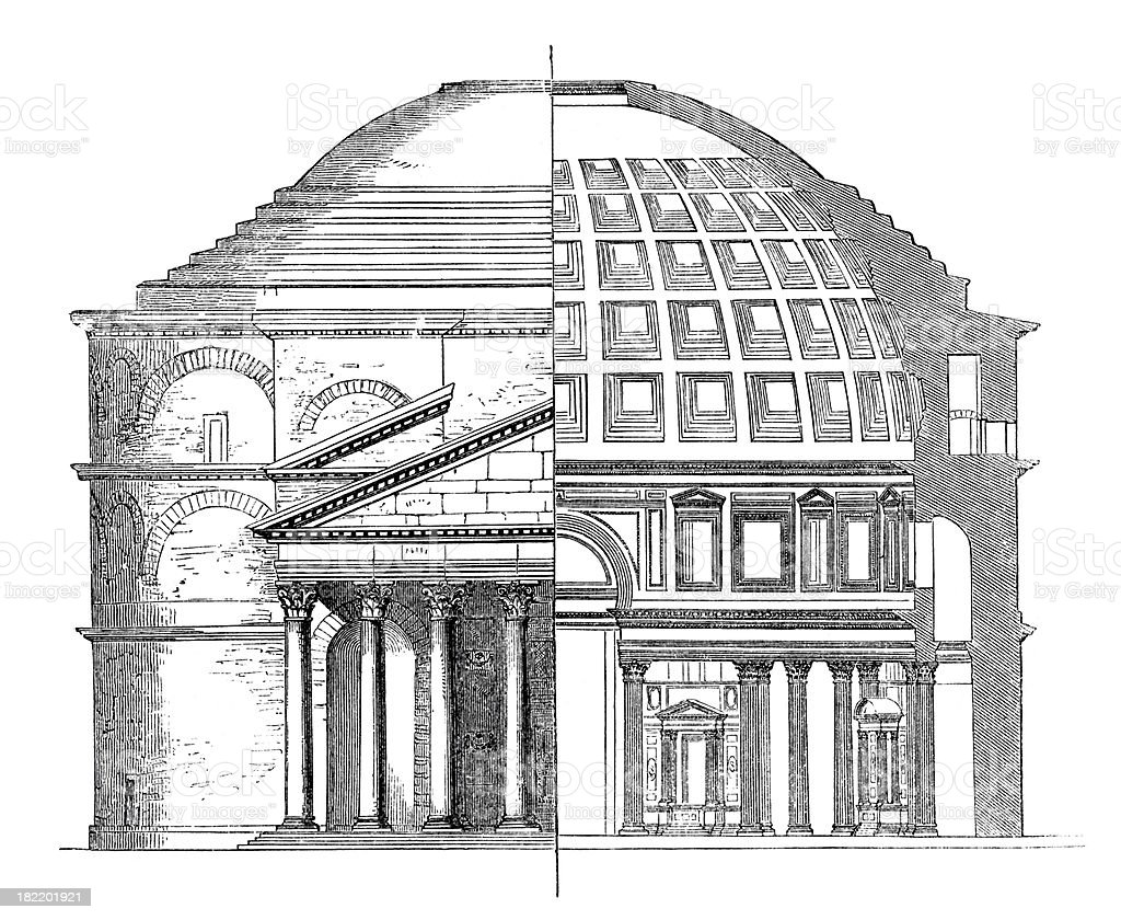 Architectural Plan of Roman Pantheon vector art illustration
