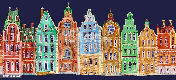 istock Architectural seamless border pattern on a dark blue background. Watercolor painted doodle Fairy tale houses panorama, old medieval European town street. Travel brochure, web site banner 1305704844